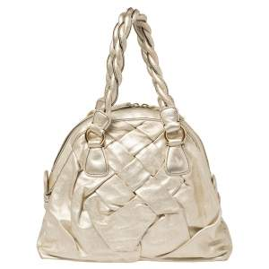 Valentino Metallic Gold Braided Handle Satchel