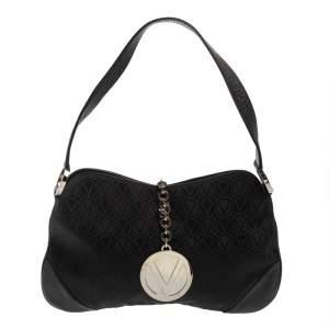 Valentino Black Monogram Canvas and Leather Vintage Baguette Shoulder Bag