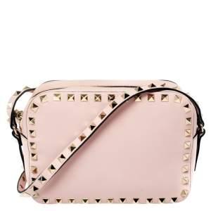 Valentino Pink Leather Rockstud Camera Crossbody Bag