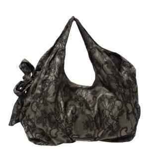 Valentino Black Day Lace Large Nuage Bow Hobo