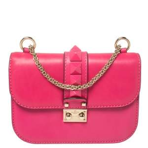 Valentino Pink Leather Small Rockstud Glam Lock Flap Bag
