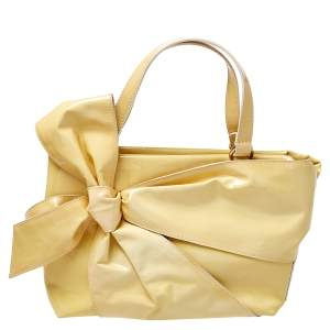 Valentino Yellow Patent Leather Bow Tote