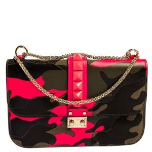Valentino Green/Pink Fabric and Leather Camouflaged Rockstud Medium Glam Lock Flap Bag