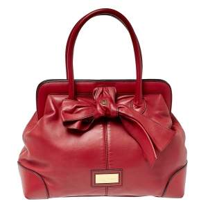 Valentino Dark Red Leather Bow Frame Satchel