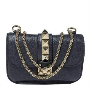 Valentino Navy Blue Leather Small Rockstud Glam Lock Flap Bag