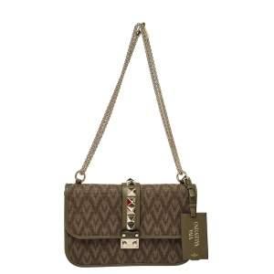 Valentino Military Green V Canvas  Rockstud Medium Glam Lock Flap Bag