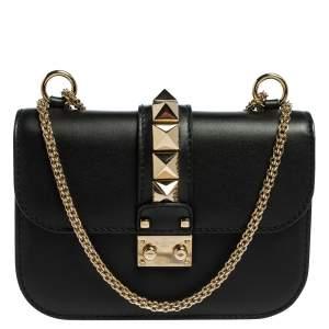 Valentino Black Leather Glam Lock Crossbody Bag