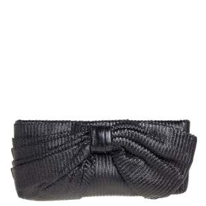 Valentino Black Textured Leather Bow Clutch