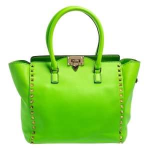 Valentino Neon Green Leather Rockstud Trapeze Tote