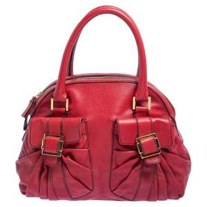 Valentino Red Leather Double Pocket Satchel