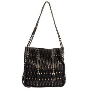 Valentino Black Leather And Mesh Stud Embellished Tote