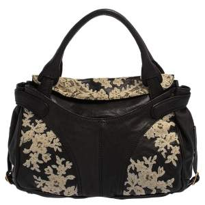 Valentino Black Flower Lace Embroidered Leather Tote