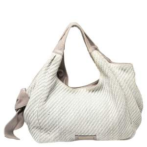 Valentino Grey Woven Raffia and Leather Bow Hobo