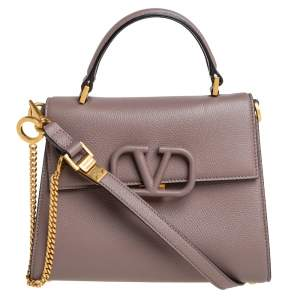 Valentino Dark Beige Leather Small VSLING Top Handle Bag