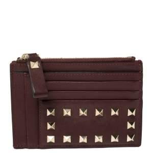 Valentino Burgundy Leather Rockstud Card Holder