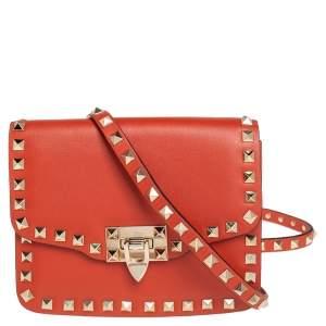 Valentino Burnt Orange Leather Rockstud Flap Crossbody Bag