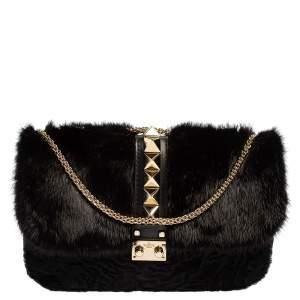 Valentino Black Mink Fur, Sheep Fur, and Leather Medium Glam Lock Shoulder Bag