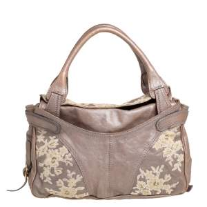 Valentino Metallic Dark Beige Leather Urban Lace Satchel