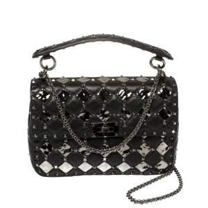 Valentino Black Metal Rhombus Leather Medium Rockstud Spike.It Chain Shoulder Bag