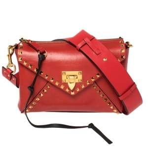 Valentino Rouge Pur Smooth Leather Rockstud Hype Shoulder Bag