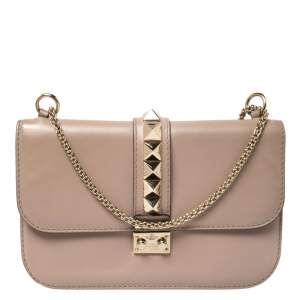 Valentino Beige Leather Medium Rockstud Glam Lock Flap Bag