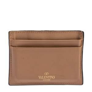 Valentino Beige Leather Rockstud Card Holder
