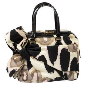 Valentino Printed Nylon and Leather Bow Boston Bag