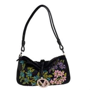 Valentino Black Satin Floral Embroidered Vring Shoulder Bag