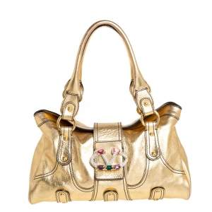 Valentino Gold Leather Crystal-Embellished Catch Satchel