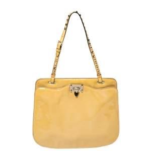 Valentino Beige Patent Leather Rockstud Strap Shoulder Bag