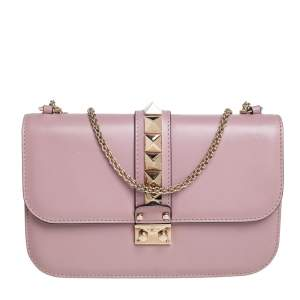 Valentino Pink Leather Medium Rockstud Glam Lock Flap Bag