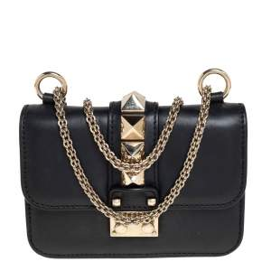 Valentino Black Leather Mini Rockstud Glam Lock Shoulder Bag
