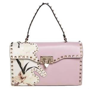 Valentino Pink Leather Rockstud Kimono 1997 Top Handle Bag