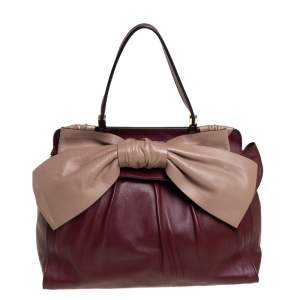 Valentino Burgundy/Beige Leather Aphrodite Bow Bag