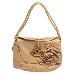 Valentino Beige Leather Petale Shoulder Bag