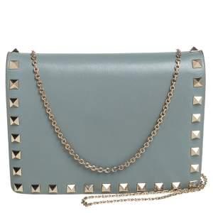 Valentino Sage Green Leather Rockstud Chain Crossbody Bag