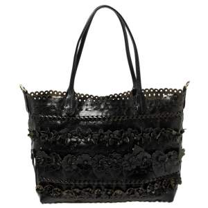 Valentino Black Lasercut Leather Floral Applique Tote