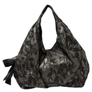 حقيبة هوبو فالنتينو نواغ كبيرة مزين فيونكة دانتيل  أسود