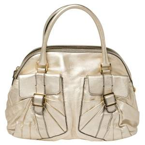 Valentino Metallic Gold Leather Satchel