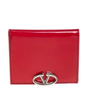 Valentino Red Patent Leather V Logo Compact Wallet