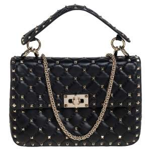 Valentino Black Leather Medium Rockstud Spike Top Handle Bag