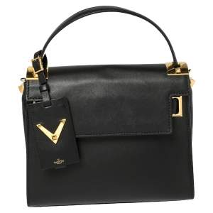 Valentino Black Leather My Rockstud Top Handle Bag