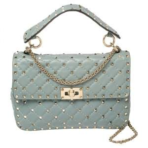 Valentino Blue Leather Medium Rockstud Spike Top Handle Bag