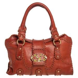 Valentino Brown Whipstitch Leather Crystal Embellished V Ring Satchel