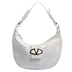 Valentino White Leather Zip Hobo