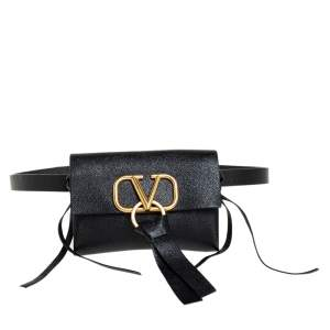 Valentino Black Leather Vring Belt Bag