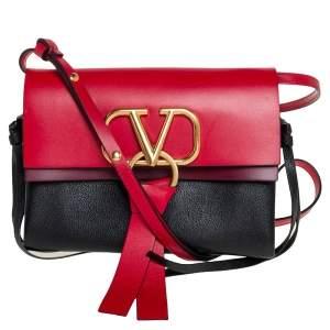 Valentino Tri Color Leather V-Ring Flap Crossbody Bag