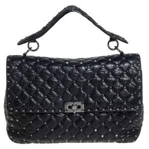 Valentino Black Leather Large Rockstud Spike Top Handle Bag