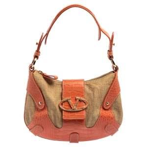 حقيبة هوبو فالنتينو كاتش قش وجلد بنقشة التمساح بيج / برتقالي