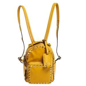Valentino Mustard Leather Mini Rockstud Backpack